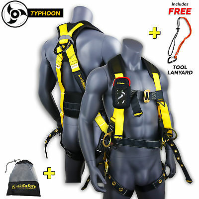 KwikSafety TYPHOON ANSI Fall Protection Safety Harness 3D Ring + Back Support