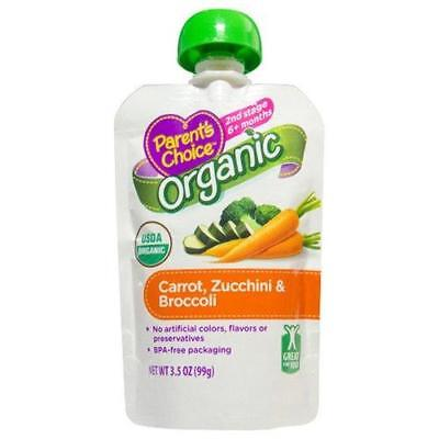 Parent's Choice Baby Food, Stage 2, Carrot Zucchini & Broccoli, 3.5oz Pouch