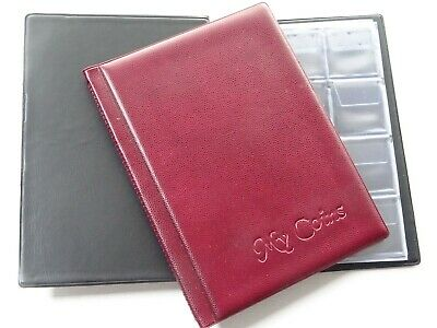 Coin Album Storage Book,Holder, Folder  for 96 Coins 50p,old 50p,£2 ,£1 Burgundy