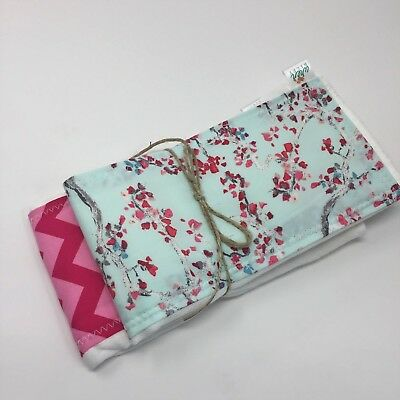 NWT Cherry Blossom Tree Baby Burp Cloth Set Infant Girl Pink Washington DC Flora