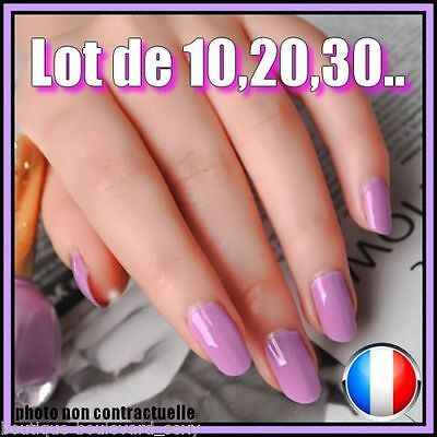 ❤ Manucure ❤ Lot Capsules Faux Ongles Violet Américain Nail Art Flashy Sexy ❤Pro