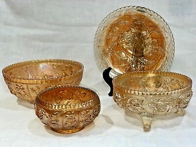 Lot of FOUR Open Rose Pattern Carnival Glass Bowls - GREAT COLLECTION