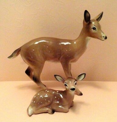 Vintage Ceramic Doe With Fawn Figurine Napco