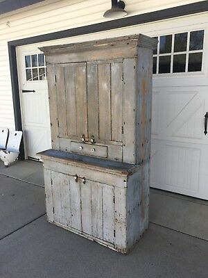 Aafa Early Antique Original Cabinet Cupboard Dry Gray Blue Paint Square Nails