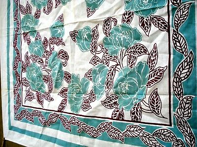 Vintage 30's 40's Mint green flower floral tablecloth