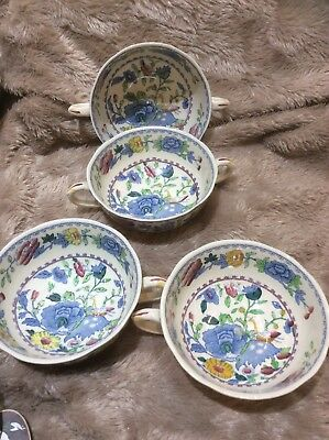 4x Masons Ironstone Strathmore 2 Handled Soup Or Coffee Bowls