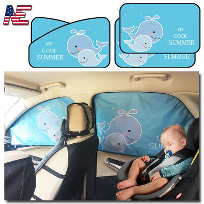 4* Car Sun Shade Side Rear Window Visor Block Screen Protection Shield for Kids