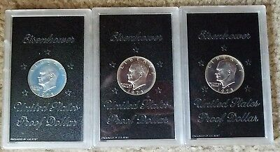 Three (3) Cameo Proof 1973-S Eisenhower Dollars as one lot