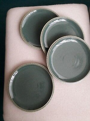 Denby Calm Breakfast/lunch Plates - New With Stickers. Dark Green. Unused