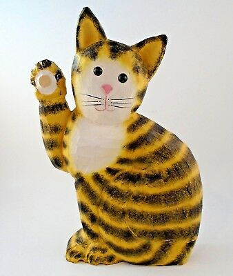 """Hand Painted Carved Wooden Cat Folk Art Calico Waving Cat Figurine 11"""""""