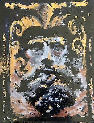 Original painting 'NEPTUNE' haunted face Roman, Greek, God LARGE Creepy wall art