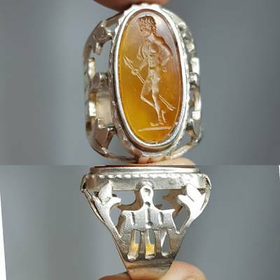 Silver Beautiful Ring Roman Rare Old Wonderful Arrow Hunter Agate stone  # 2C