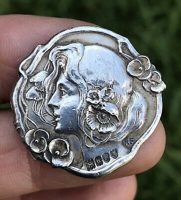 Antique Art Nouveau Lady 1903 Sterling Silver Button Make Nice Brooch /pin