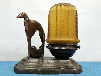 Vintage Rare Bronze Brass Spelter Art Deco Greyhound Dog Table Lamp w Nice Shade