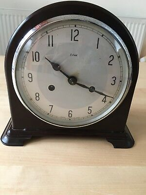 Vintage Smiths Enfield Bakelite Mantle Clock - Working Pendulum Carriage Clock