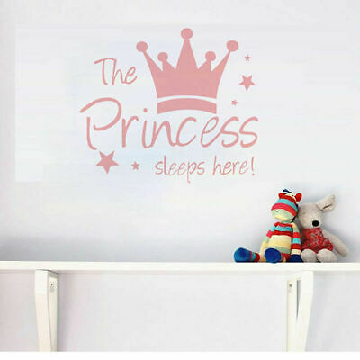 The Princess Sleeps Here Bedroom Wall Girls Decal Vinyl Words