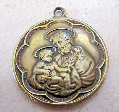 LARGE Vintage/ Antique San Jose (St Joseph) Brass Catholic/ Religious Medal