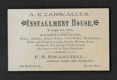Trade Card Youngstown OH A. E. Carscallen Installment House Household  *AT106