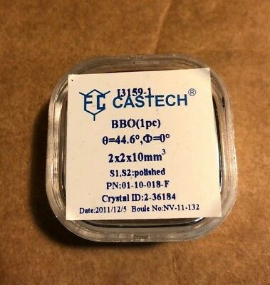 Castech BBO Crystal 0=4.6 2 X 2 X 10mm S1. S2 Polished. P/N: 01-10-018-F