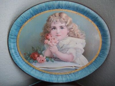 Antique Litho Serving Tray Lithograph Portrait Little Girl Roses & Piano
