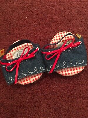 Build A Bear Babw Shoes Blue Denim Sandals With Red Bows
