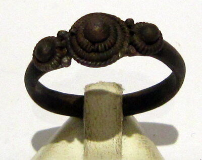 Amazing Medieval Or Post-Medieval Silver Ring With Nice Decoration # 412
