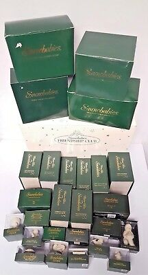 LOT OF 27 Department 56 Snowbabies Winter Tales & Hinged Boxes + Friendship Club