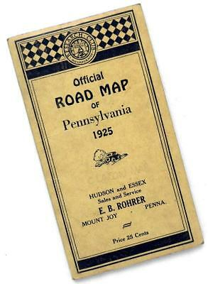 1925 Official Road Map PENNSYLVANIA by CLASON