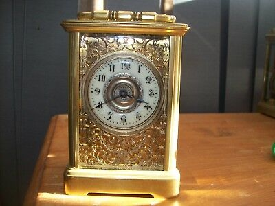Antique French 8Day Bronze Carved Fret Carriage Clock Fret Work Case Masked Dial