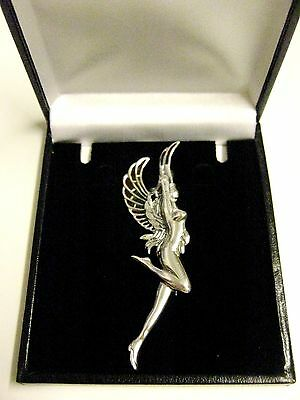 Sterling Silver French inspired stained Glass Goddess Angel Fairy Brooch pin