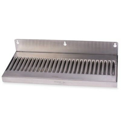 "Draft Beer Drip Tray - Wall Mount No Drain - Stainless Steel 14"" x 6"" Kegerator"