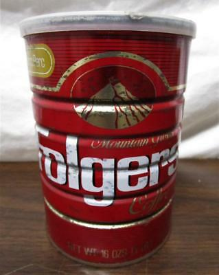 Vintage Nos Folgers Coffee 1 Pound Can W/ Plastic Lid Sealed Unopened