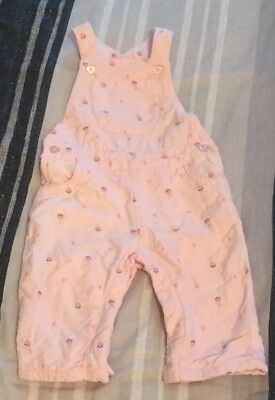 Baby Girls Pink Flower F&F Dungarees 3-6 months NewBorn Pockets Heart Buttons
