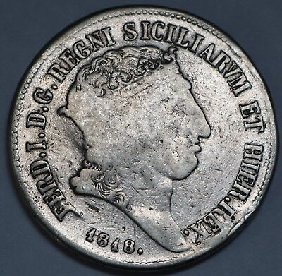 Sicily Crown Naples Silver 120 Grana 1.2 Ducat 1818 1St Type Free Shipping