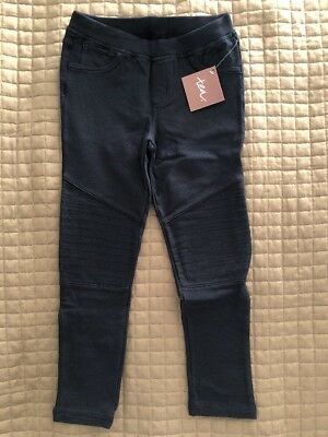 NEW NWT Tea Collection Girls Skinny French Terry Moto Pants Heritage Blue Size 7
