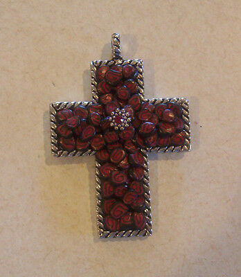 Hand Crafted Red & Black Swirled Clay Design Antique Silver Cross Pendant