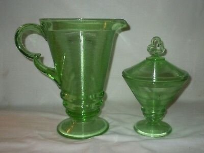 Vtg Green Depression Old English Threading PITCHER & FOOTED CANDY Indiana Glass
