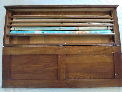 5 Vintage 1914 WWI Era Pull Down School Maps with Oak Case, Rare 1914 World Map