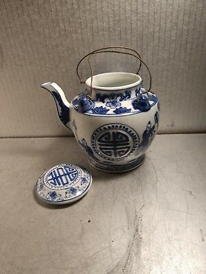 Antique Vintage Chinese Pottery Blue/white teapot wire handles
