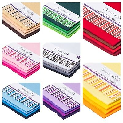 A4 Dovecraft Felt Sheets Assorted Multipack of 8 pieces in 4 Colours BUY4 GET 5!