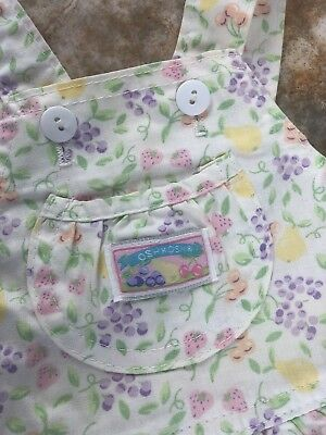 VIntage OshKosh B'gosh Girls 18mos Light  Fruit Print Overalls Romper