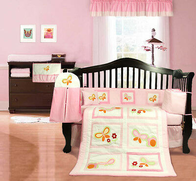 NEW pink baby girl's cotbed / cot bumper (nursery bedding) butterflies flowery