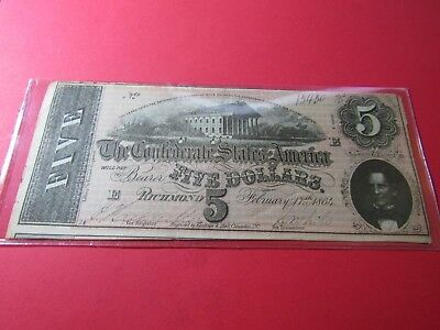 "1864 $5 Confederate States Note #7 - ""Confederate Capitol Richmond VA"" - XF"