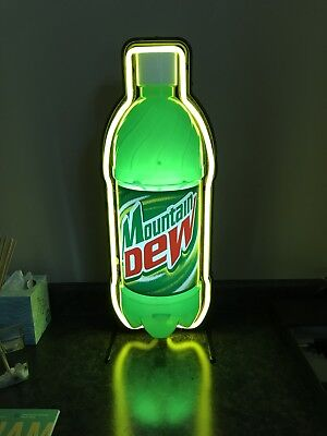 Mountain Dew Bottle Light Up Neon Sign Green & Yellow