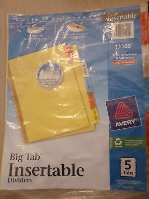 "/""Avery Worksaver Big Tab Reinforced Dividers,Clear Tabs AVE11110/"" 5-Tab"