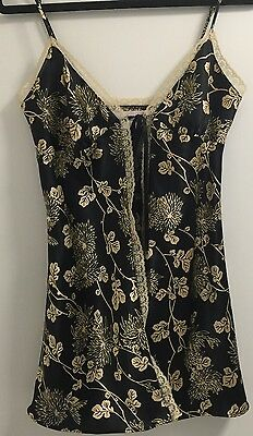 Victoria's Secret Black & Gold Satin Floral Babydoll Negligée Lingerie Medium