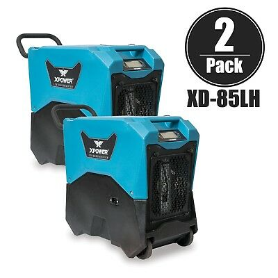 XPOWER XD-85LH Commercial Water Restoration LGR Dehumidifier w/ Wheels 2 Pack