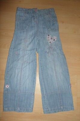 Next girls light blue embroidered/embellished roll-up jeans Age 4-5 years