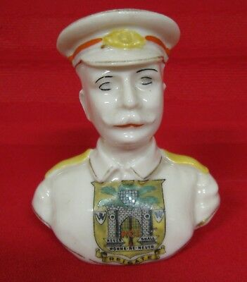 """Arcadian China Crested Ware World War I Soldier Bust, Reigate, 3 1/2"""""""