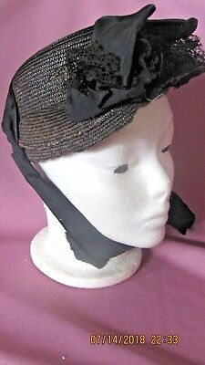 Antique Victorian 1890's  WIDOWS HAT?  GOOD CONDITION, WELL MADE